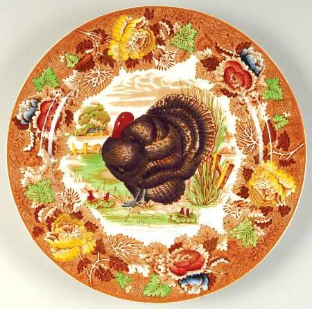 enoch wood sons turkey brown multi at replacements - Thanksgiving China Patterns