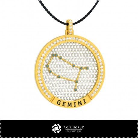 3D CAD Gemini Zodiac Constellation Pendant