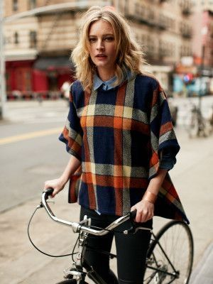 Plaid poncho, denim shirt and pants. Amazing fall fashion look ideas 2015.
