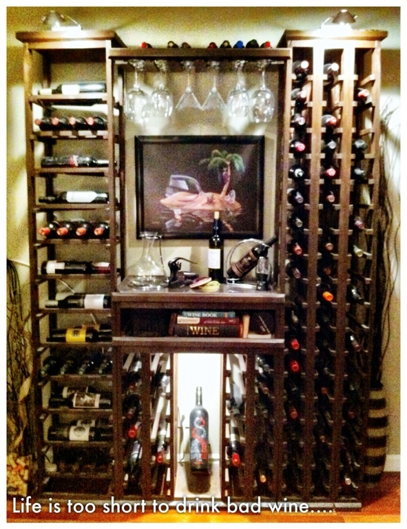DIY wine rack display made by my boyfriend. #wine #love Amazing collection.