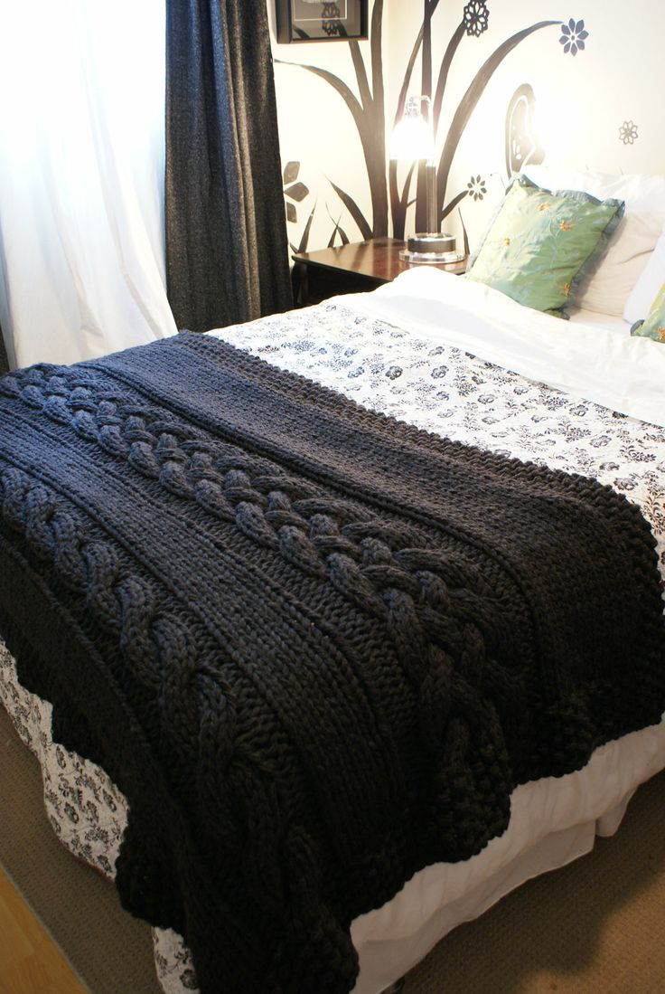 Throw Rug Knitting Patterns : DIY Knitting PATTERN - Throw Blanket / Rug Super Chunky Double Cable Approxim...