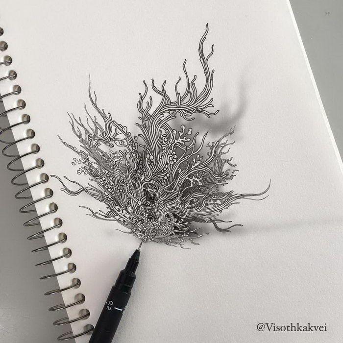 Рисунки на бумаге, от которых кружится голова: работы Visothkakvei