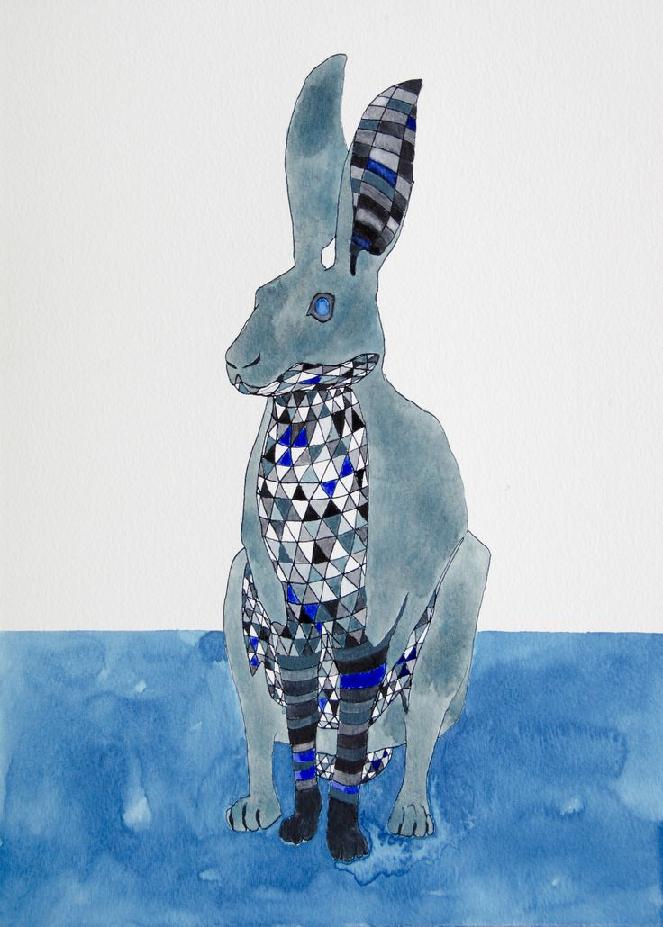Hare. INk and watercolor by katrine mosegaard