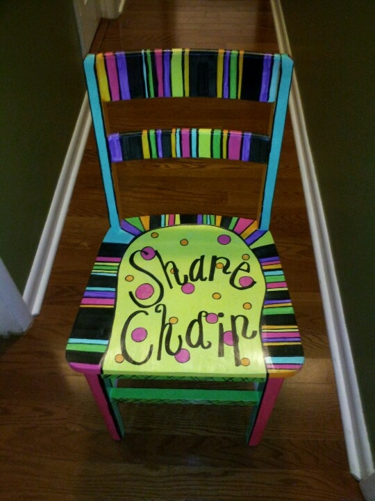 show and tell share chair:  kinda what I have in mind for our classroom.
