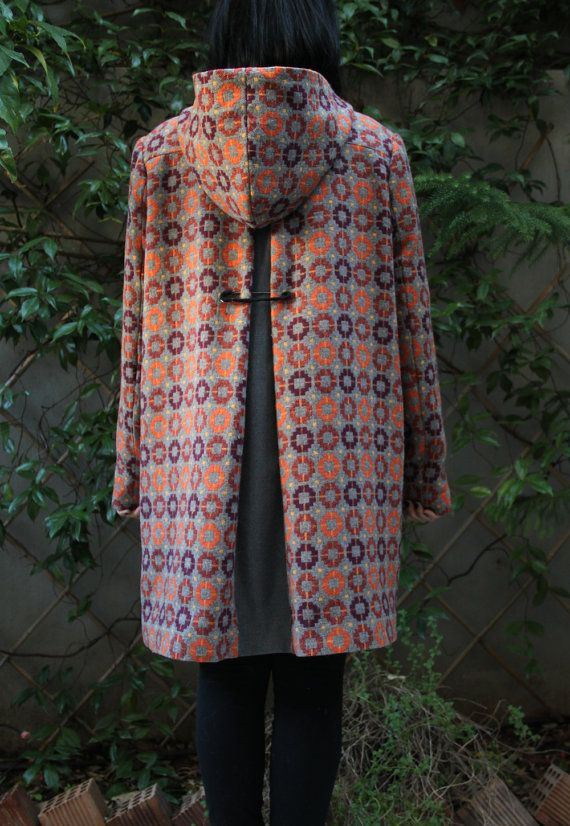 "Orange & Bordeaux vintage style wool coat with gray lining, coconut buttons and a crochet brooch on the back, by ""EatingTheGoober"""