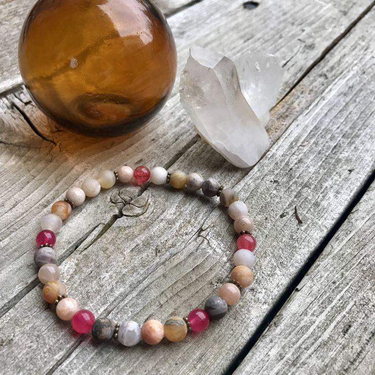 Moonstone, Quartz & Agate Wellness Bracelet by VitaminSeaJPS on Etsy https://www.etsy.com/ca/listing/554616346/moonstone-quartz-agate-wellness-bracelet