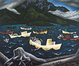 E.J. Hughes - Fishboats, River's Inlet, 1946