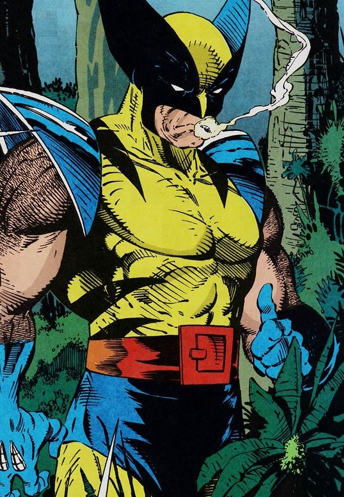 """The Smoking Wolverine in Spider-Man #10 (May 1991) """"Perceptions, Part III"""" - Todd McFarlane & Gregory Wright"""