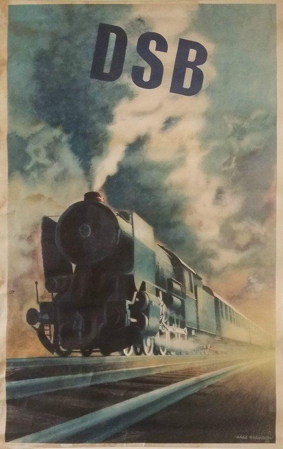 1950 Steam Locomotive  Danish Railways  by OutofCopenhagen on Etsy