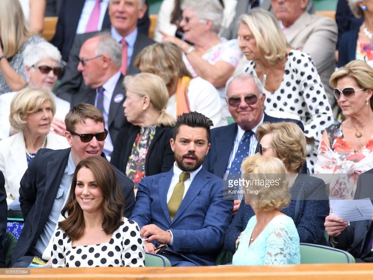 Sam Spruell, Catherine, Duchess of Cambridge and Dominic Cooper attend day one of the Wimbledon Tennis Championships at Wimbledon on July 3, 2017 in London, United Kingdom.