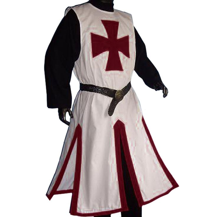 Medieval LARP Knights Templar Cross Surcoat, White/Dark Red - XXL