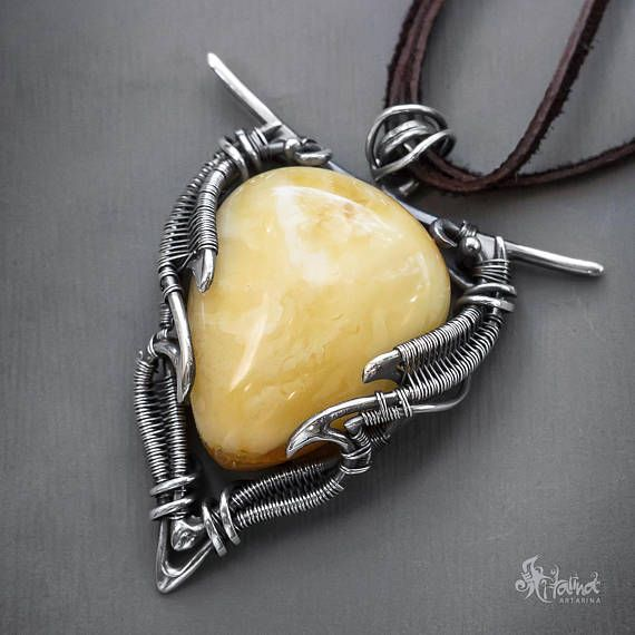 Amber pendant // Baltic amber pendant // Silver wire wrapped