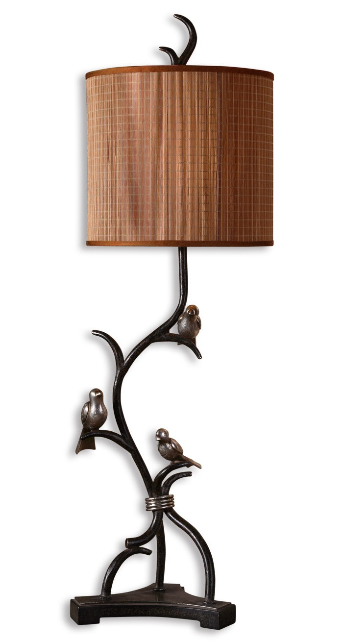 Buffet lamps shades - Table Lamp In Rustic Bronze Branch Finish With Round Drum Natural Woven Bamboo Shade 248 60