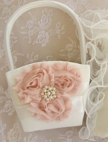 Flower Girl Basket Shabby Chic. Custom Colors Wedding Basket