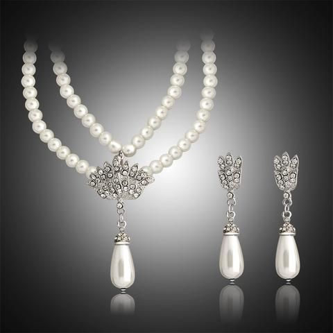 Vintage High Quality Imitation Pearl Silver Plated Wedding Classic Bridal Jewelry Set