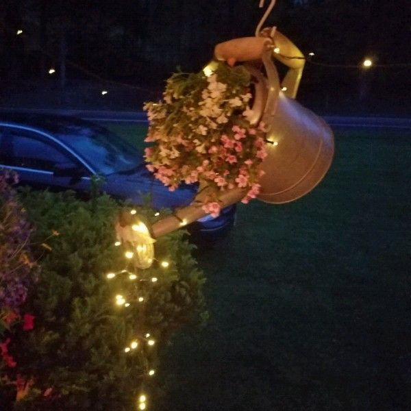 Lighted Watering Can With Bacopa And Lobila Outdoor