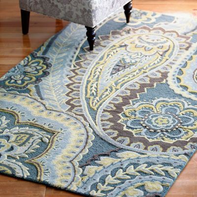 Blue Paisley Tufted Wool Rug  for the kitchen  For the