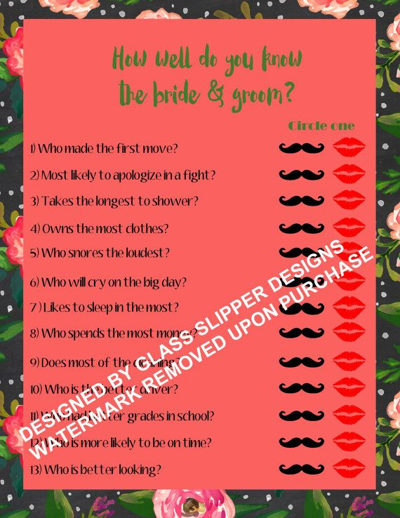 Printable bridal shower/couples shower game by PrettyPrintablesInk