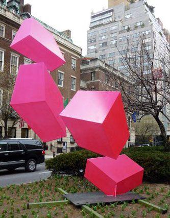 Park Ave. and 67th. Raphael Barrio's vibrant flourescent geometric sculpture