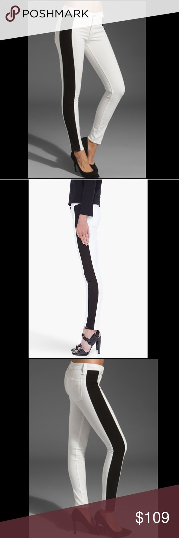 """Rag & Bone Split Tuxedo Stretch Skinny Jeans 28 Amazing and RARE Rag and Bone The Split Skinny Tuxedo Stripe Stretch Jeans in White with Black striped sides. Super Slimming and gorgeous on! Size 28. Retail price $225. from Shop Bop. Waist measures 14"""" across. Rise 8.5"""". Inseam 29"""". Leg opening 10"""". Mint condition with no flaws. No trades please 💕 rag & bone Jeans Skinny"""