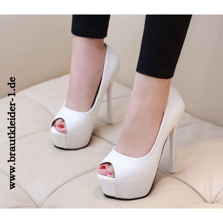 Elegante Damen Schuhe Pumps fuer den Standesamt Weiß