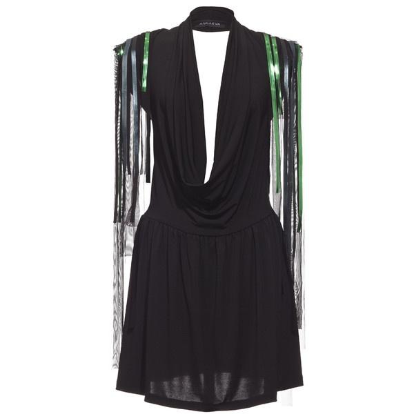 Annaeva Sea Through Mini Dress With Green Fringes - Black ($130) ❤ liked on Polyvore