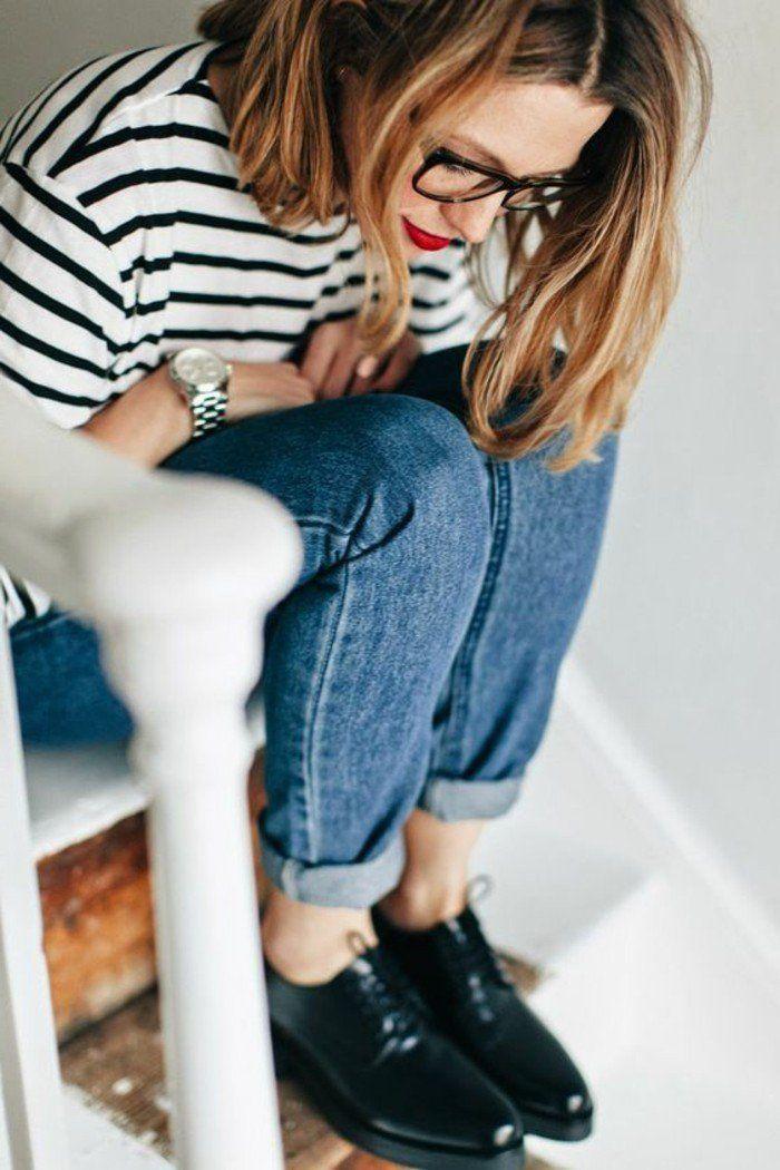 chaussures derbies femme en cuir femme denim bleu