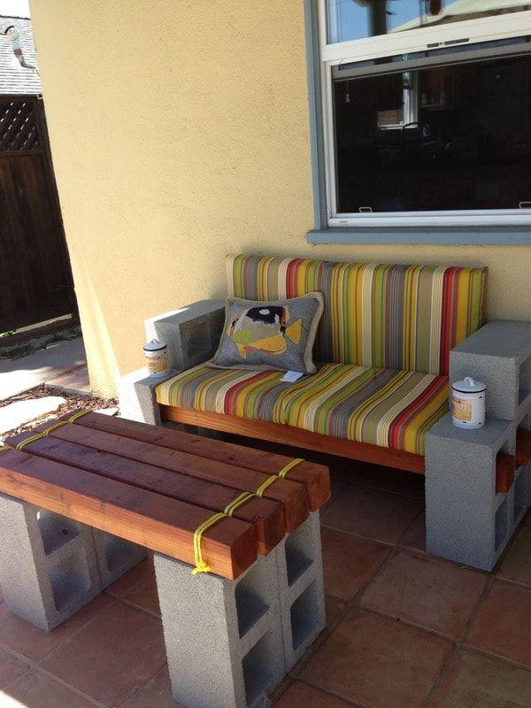 Muebles de exterior con bloques de cemento