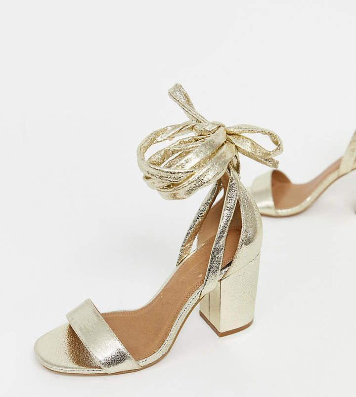 Asos Design Wide Fit Howling Tie Leg Block Heeled Sandals In Gold Glitter A High Shine Standout Party And Clubbing Hee Block Heels Sandal Sandals Heels Heels
