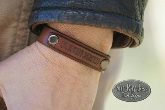 Check out this item in my Etsy shop https://www.etsy.com/listing/265364922/custom-engraved-leather-bracelet