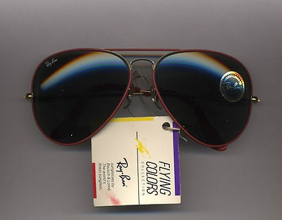 RAY BAN FLYING COLORS RED GRAY GLASS 62-14 SUNGLASSES VINTAGE AUTHENTIC  www.theeyestop