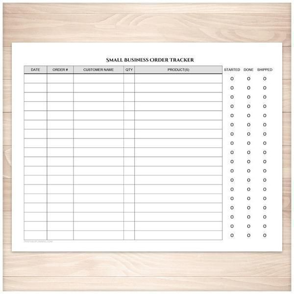 A printable Small Business Order Tracking Page that is a handy tool for small businesses and sole-proprietors to use to track their orders and order statuses.