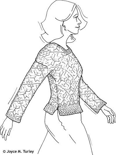 Denmark Fitted Pullover with All-Over Pattern by Donna Druchunas