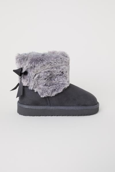 Warm Lined Boots Dark Gray Kids H M Us 1 Baby Baby Shoe
