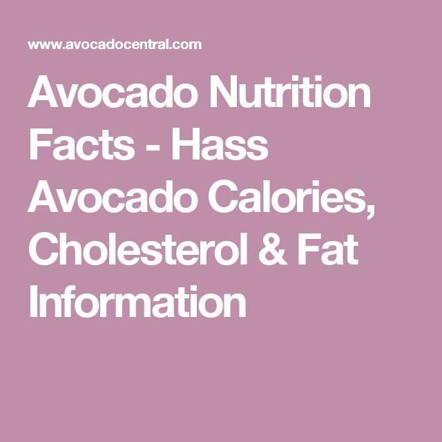 Avocado Nutrition Facts - Hass Avocado Calories, Cholesterol & Fat Information