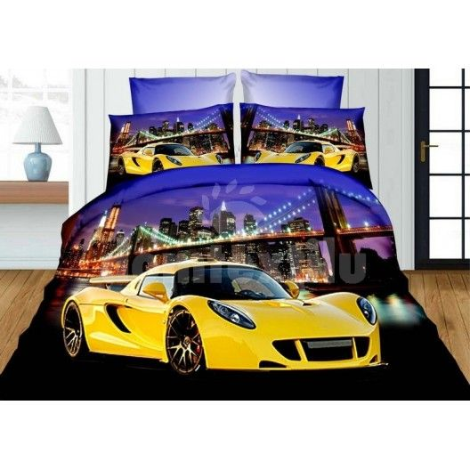 Žlto fialové detské obliečky s luxusným autom