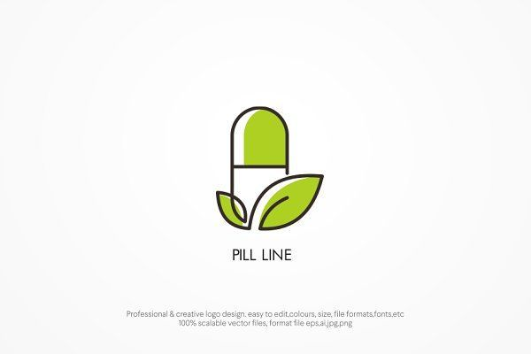 Pill Line Two Version 로고 템플릿 로고 템플릿 크리에이티브 마켓 Medicine Logo Health Logo Marketing Logo Design