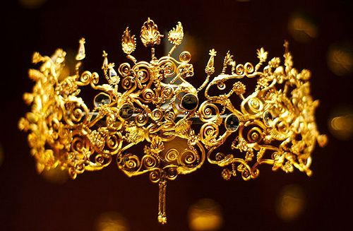 Diadem of Philip II of Macedonia's wives  This diadem was owned by one of the wives of Philip of Maedonia, father to Alexander the Great, in the fourth century B.C.  The crown was uncovered in the Macedonian royal tombs in Vergina Greece  History of Macedonia - the ancient kingdom of Greece.