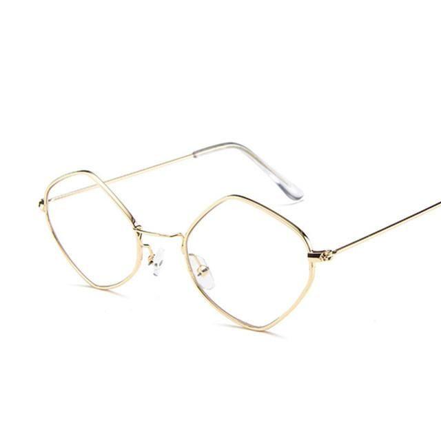 Fashion Round Sunglasses Women Brand Designer Small Frame Polygon Clear Lens Ladies Sunglasses Vintage Sun Glasses Metal Frame