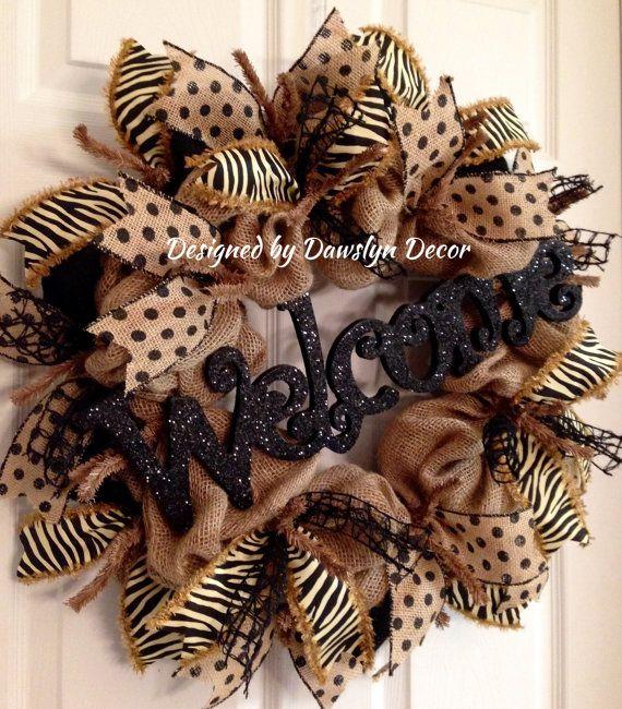 Burlap Wreath, Welcome Wreath, Black Wreath, Rustic Wreath, Polkadot Wreath