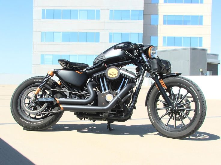 Bobbers: Harley Davidson Sportster Custom Bobber, 2011 HD Sportster Iron 883, Black Flat Tank with Black Leather Layer, Spring Solo Black Le...