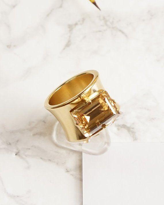 d77b44a2fa2b2 Emerald Cut Ring, Chunky Rings For Women, Swarovski Rings, Wide Gold ...