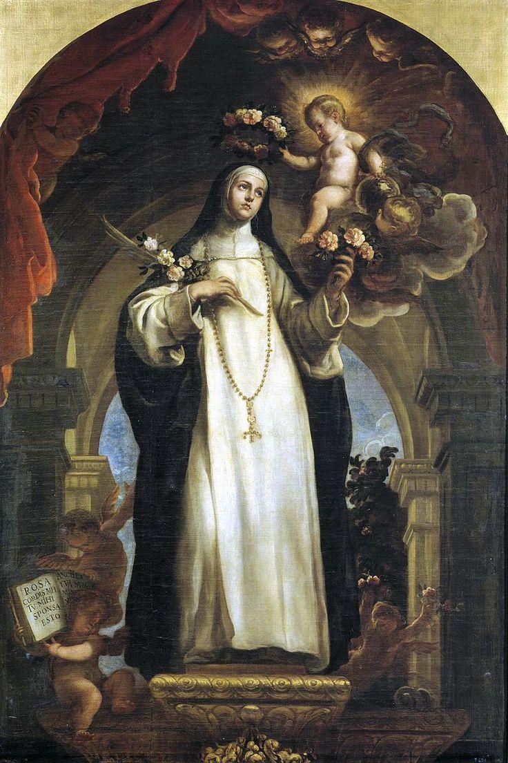 Santa Rosa da Lima, olio su tela di Claudio Coello, Museo del Prado, Madrid-Rosa di Santa Maria, al secolo Isabel Flores de Oliva (Lima, 20 aprile 1586 – Lima, 24 agosto 1617), è stata una religiosa peruviana del terz'ordine domenicano: è stata canonizzata nel 1671 da papa Clemente X.