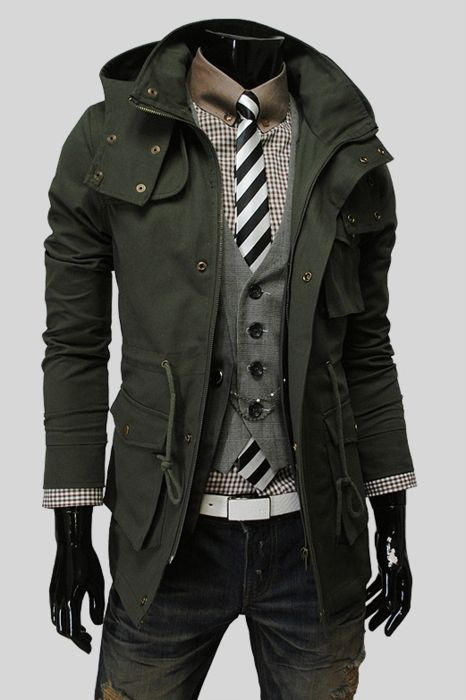 Dark olive green trench.