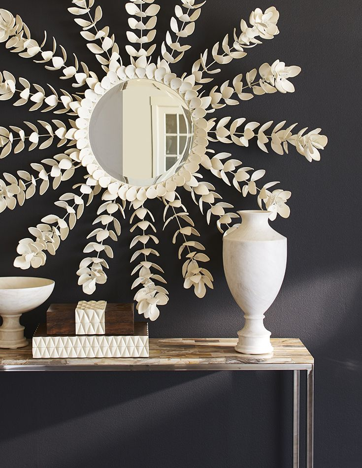 Palecek coco magnolia mirror beveled mirror set in a hand wrapped metal frame accented with