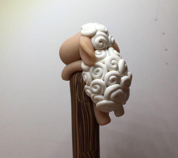 Polymer Clay Sheep Ballpoint Pen by handmademom on Etsy