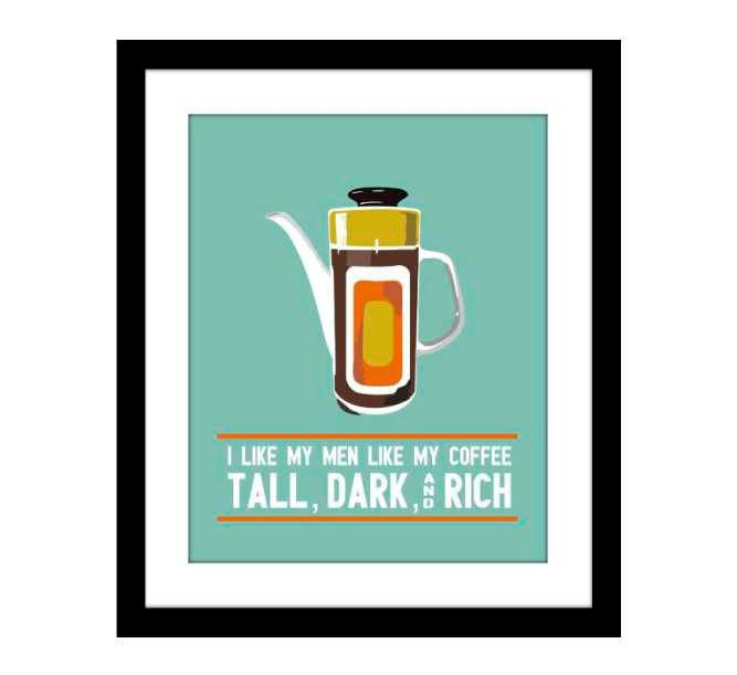 Coffee Art Mid Century Giclee Print Turquoise, Orange Gold  Matted 8 X 10. $20.00, via Etsy.