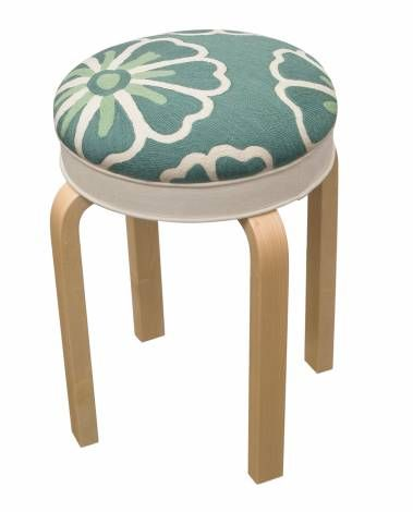 Judy Ross Textiles : collaboration with Artek to upholster this iconic stool in our chain stitch fabric. Shown in Cream/ Sea breeze. #artek #judyrosstextiles #stool