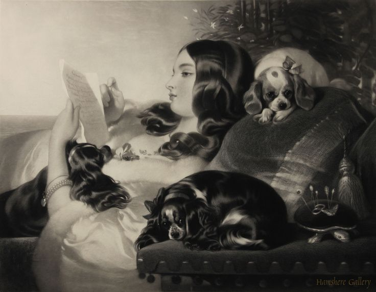 """Lady and Spaniels"", King Charles Cavaliers etching by Thomas Landseer ARA (1795-1880) after Sir Edwin Landseer RA (English, 1802-1873) SOLD, http://www.hamsheregallery.co.uk/"