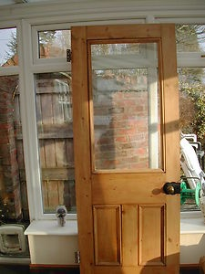 Victorian pine half glazed, half panelled internal door